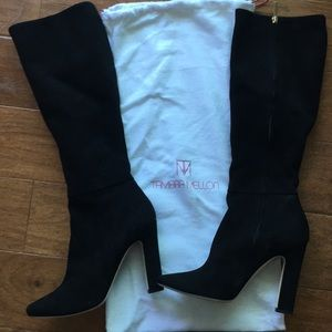 Tamara Mellon Knee High Black Suede Boots
